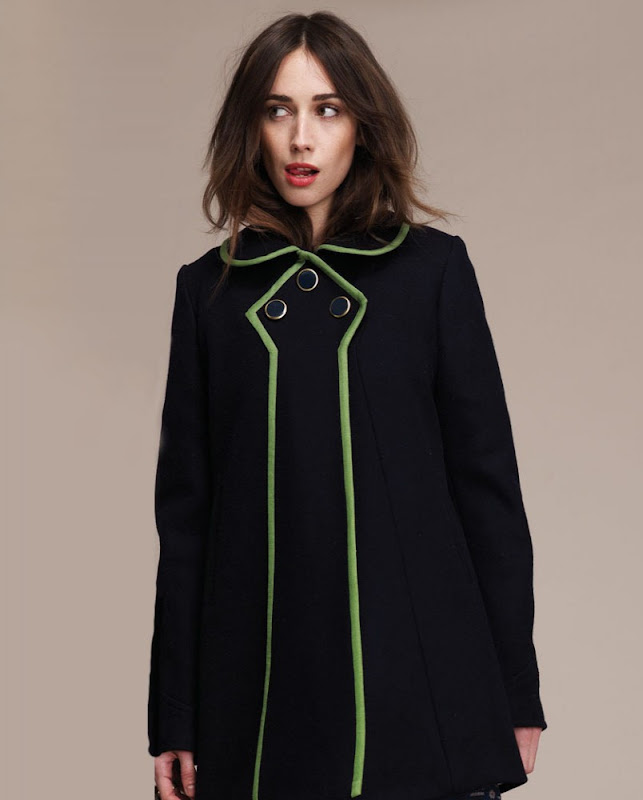 Black jacket with lime green piping from Lauren Moffatt