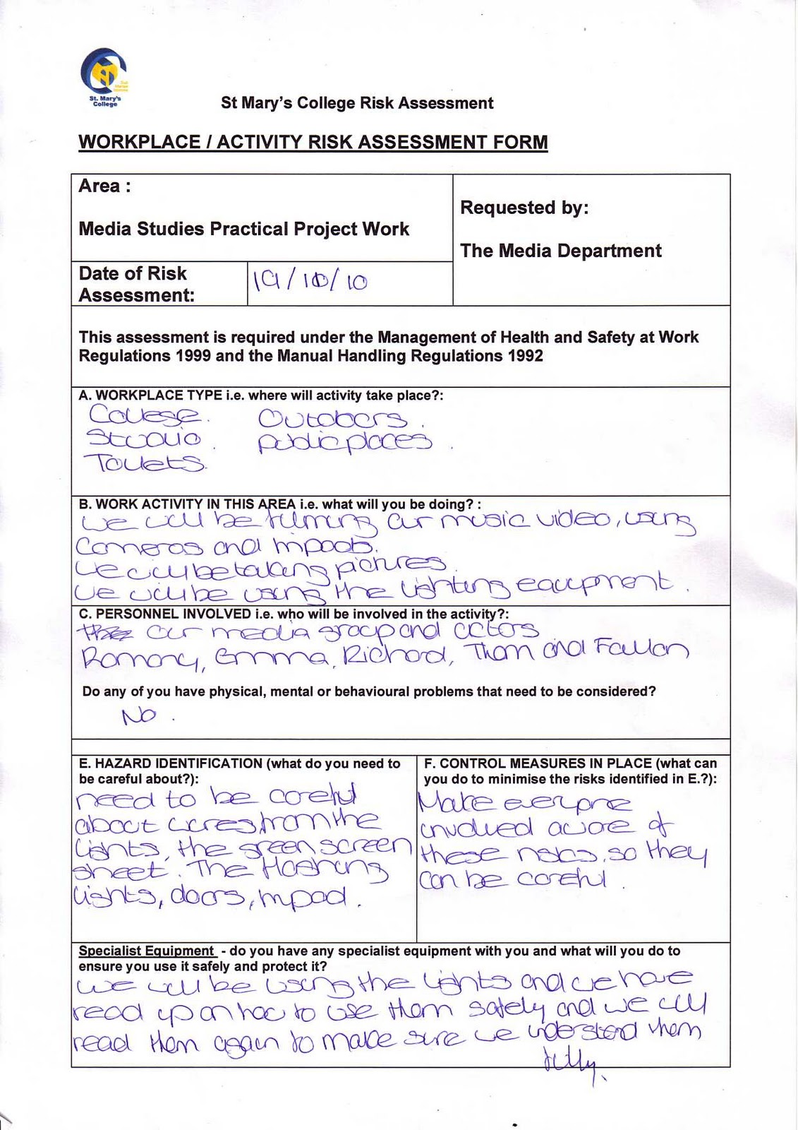 A2 Richard, Romany and Emma: Completed Rick Assessment Form