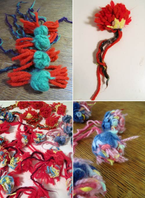 felted wool pom poms