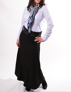 Long Skirt A Line in Black with Belt
