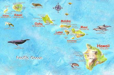 Mapa havajských ostrovov: