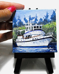 "Waiting to Go 3"" x 3"" acrylic gallery wrap with easel - $ 45.00"