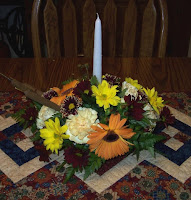Floral centerpiece on kitchen table
