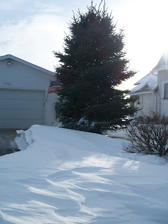 snow drifts in the driveway area
