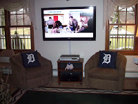 livingroom seating with HD screen