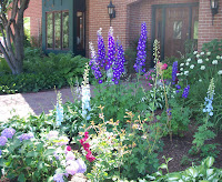 variety of flowers lining front walkway of house