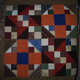 four quilt blocks for the Orange Crush mystery