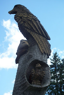 close-up of carved eagle