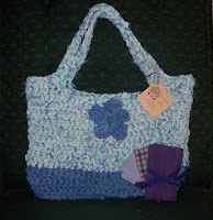 two tone blue tote bag crocheted with fabric strips