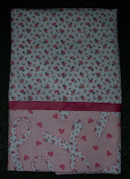 pillowcase made with pink ribbon fabric for breast cancer awareness