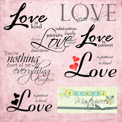 http://scrappymasterpieces.blogspot.com/2009/05/love-is-word-art-pack-freebie.html