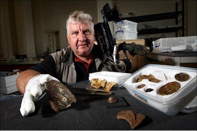 Treasure finder Terry Herbert with items from the hoard