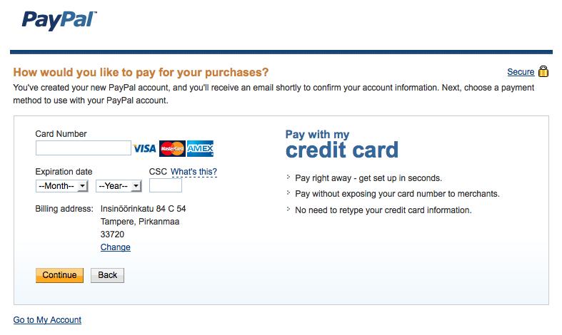 naiset nakuna paypal luottokortti