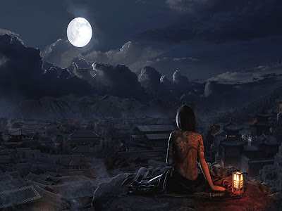Moon in 9th house woman on cliff looking above village