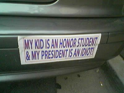 ... twist to the classic honor student bumper sticker we all know so well