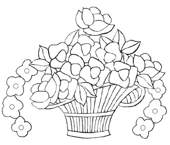 Canasta De Flores Para Colorear