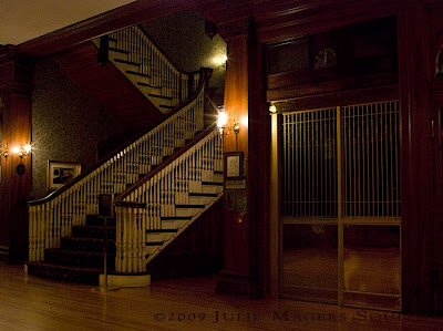 Main staircase at historic Stanley Hotel