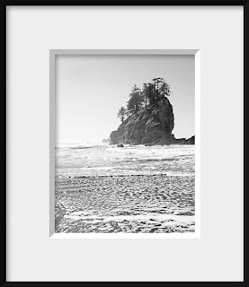 framed black and white photograph of a Pacific Northwest sea stack