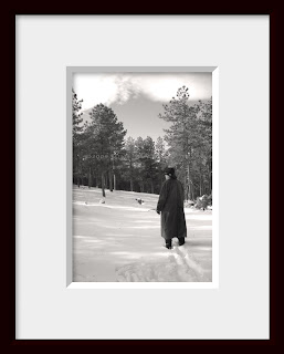 A framed photo of a man on a mission to find the perfect Christmas tree ventures out into the snowy wilderness of a Colorado forest.
