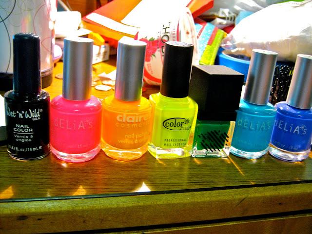 neon rainbow nail polish