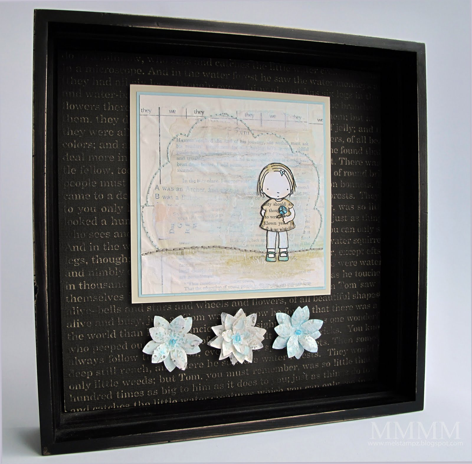 Mel Stampz 2 Challenges Pure Innocence Collage Shadow Box
