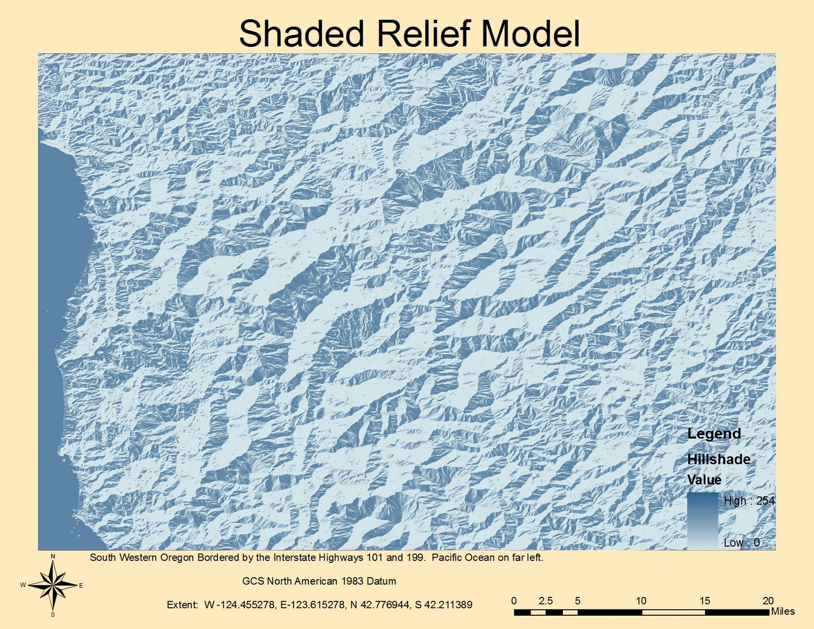 since the majority of the map includes the klamath national forest the digital elevation model produces some very interesting lines