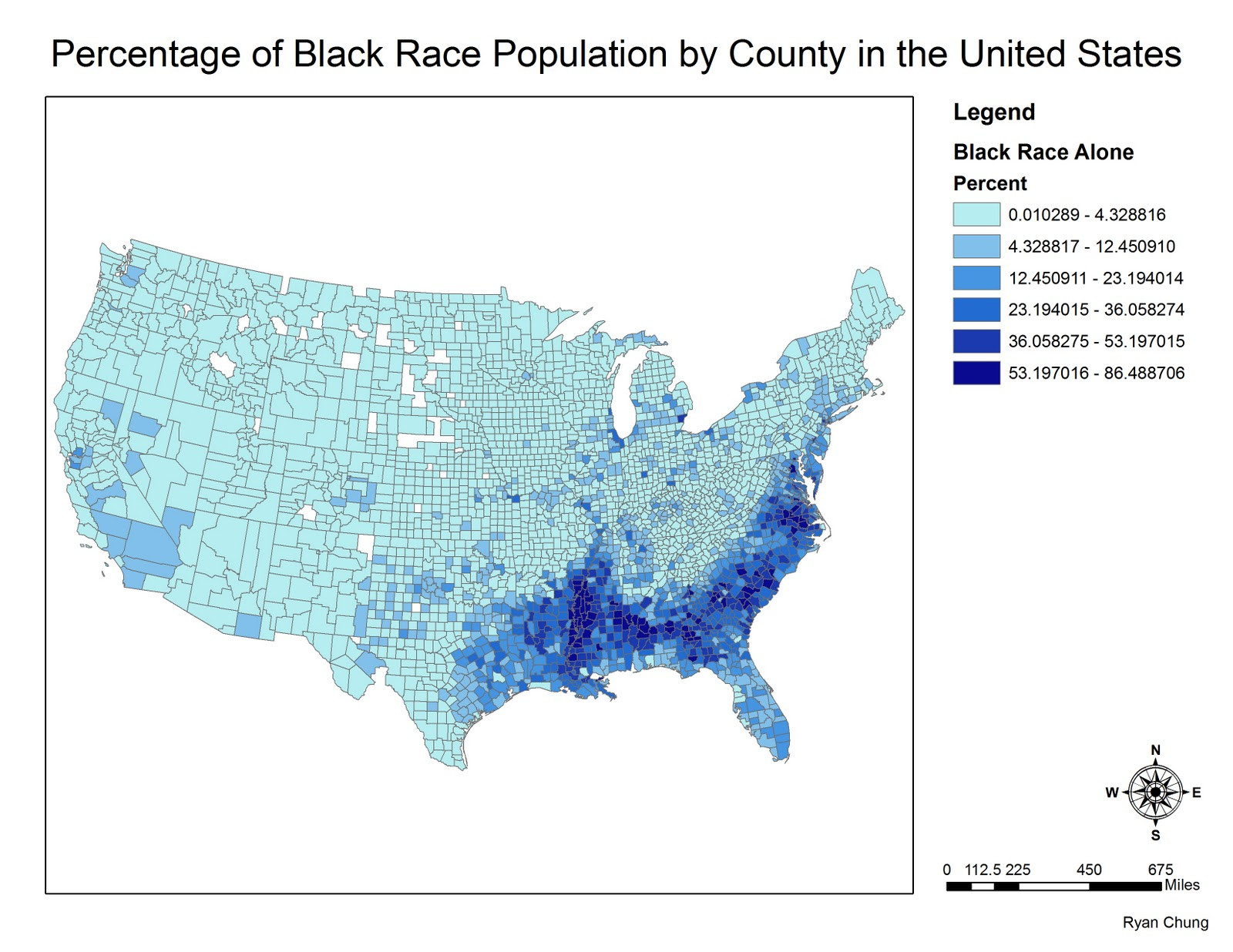 53 197016 to 86 488706 inferring that those areas shaded in a very dark green will have a very significant proportion of african american inhabitants