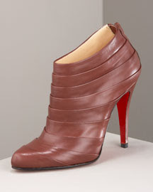 christian louboutin pleated leather booties