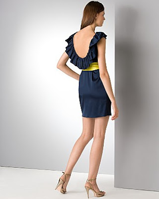 Aqua navy blue openback ruffle dress at Bloomingdalescom