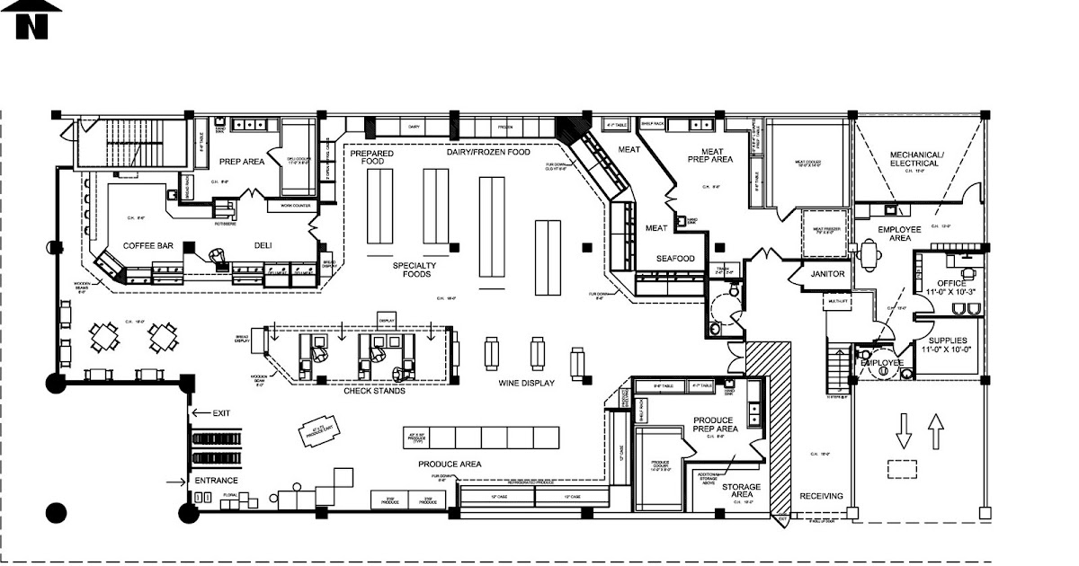Place du vivre grocery store floor plan for Grocery store design layout planning services