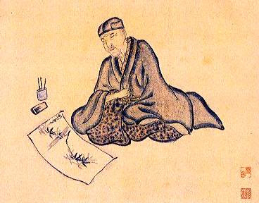 portrait of Matsuo Bashô by Bashô's patron Sugiyama Sanpû, 1647-1732, (at the Tenri Central Library, Tenri, Japan)