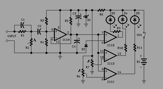 electronic  3 led level audio amplifier indicator