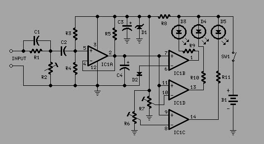 3 led level audio amplifier indicator