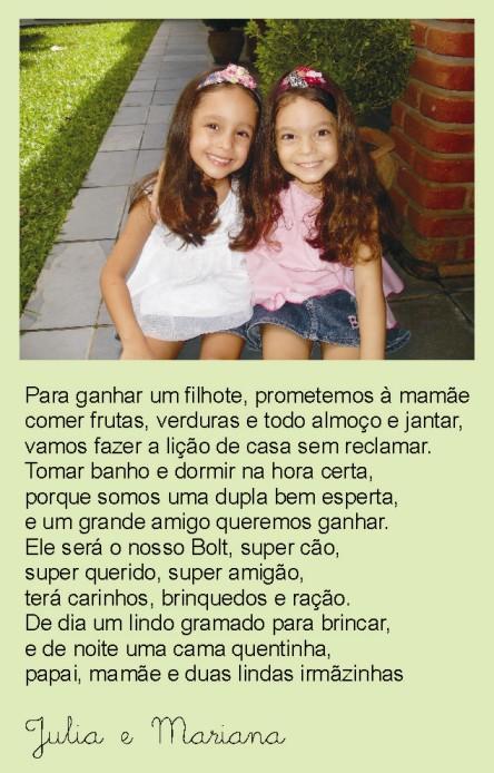 Parabéns Júlia e Mariana!!!!!