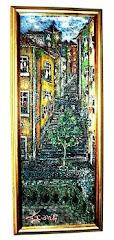 Alfama - Óleo sobre painel 20x54 cm