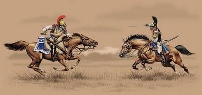 Французский конный карабинер и русский кирасир - рисунок