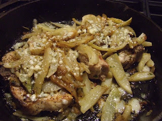 ... Groom: Pan Sauteed Pork Chops with Braised Fennel and Gorgonzola