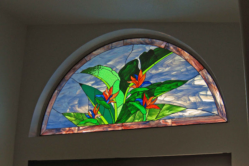 Stained Glass Arch Birds of Paradise title=