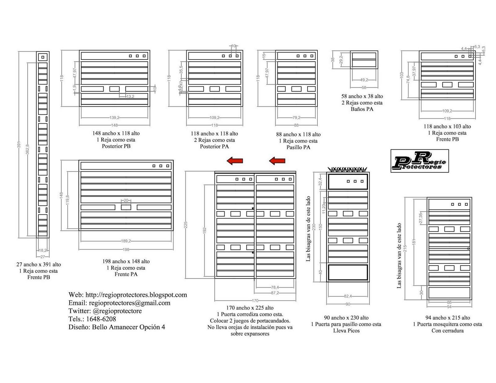 Diseño y foto montaje de protectores para ventanas y puertas, Fracc