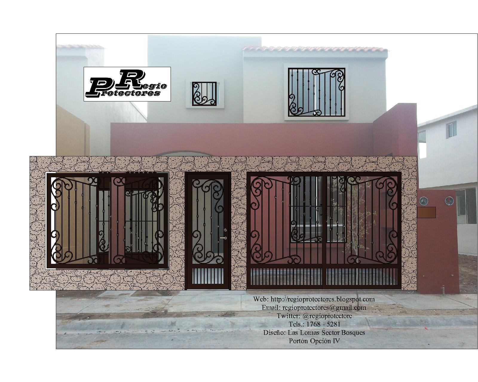 Diseño de protectores para ventana, Portón para cochera, Pórtico y