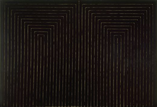 """The Marriage of Reason and Squalor, II"", by Frank Stella (1959). Size: 7' 6 3/4"" x 11' 3/4"" (230.5 x 337.2 cm). Material: Enamel on canvas. Property of the Larry Aldrich Foundation Fund"