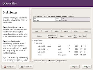 Open filer installation disk setup