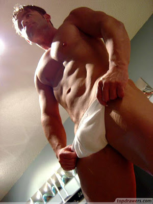 muscle hunk in white thong underwear