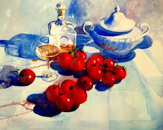 acuarela de tomatitos copa botella y sopera bodegón watercolor tomatoes still-life