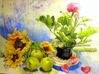 acuarela bodegon girasoles y manzanas watercolor still-life sunflowers and apples
