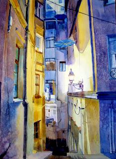 acuarela paisaje urbano callejon bilbao urban landscape watercolor alley
