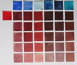 306 Rojo cadmio oscuro 506 ultramar oscuro 511 cobalto 534 cerúleo 508 prusia 585 indantreno 522 turquesa
