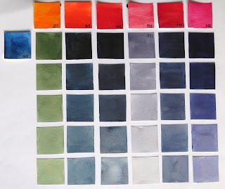 508 azul prusia 211 anaranjado cadmio 303 rojo camio claro 306 rojo cadmio oscuro 321 laca garanza permanente clara 336 laca permanente clara 366 rosa quinacridona