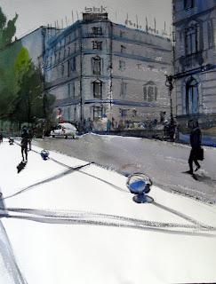 acuarela watercolor bilbao paisaje urbano