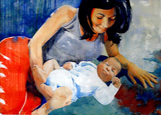 acuarela watercolor retrato maternidad portrait maternity